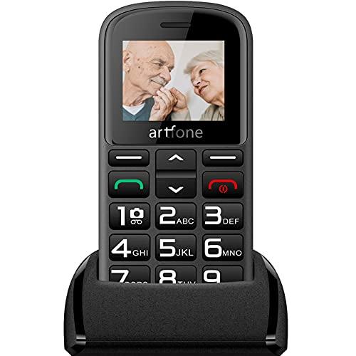 Artfone Teléfono móvil para personas mayores sin contrato, 2G GSM teléfono móvil con teclas grandes y botón de emergencia, Dual SIM teléfono móvil con estación de carga (negro)