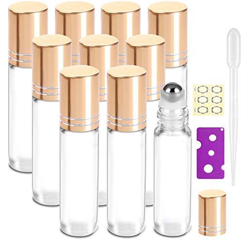 10Pcs, 10ml Essential Oil Roller Bottles - Yalbdopo Refillable Transparent Glass Roll on Bottles Clear Roll Bottles with Stainless Steel Roller Balls & Golden Cap, Include 12 Labels, Dropper & Opener