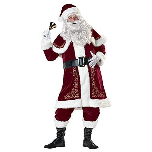 RGLIN 8 Pezzi Costume da Babbo Natale Natale in Velluto di Velluto Deluxe Costume da Babbo Natale comprese Cinture Cappelli Top Scialli Pantaloni Copriscarpe e Guanti Barba(Color:,Size:Medium)