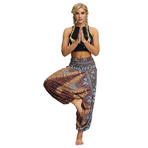 NCTCITY Mujer Pantalones Harem Tailandes Hippies Sueltos Yoga Trousers Verano Alta Cintura Elastica Casual Danza Yoga Pants Jumpsuit Pantalones