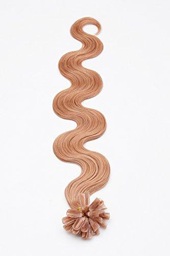 Keratin Hair Extensions Extensions de 17 en forme de U Blond foncé cendré – 100% cheveux Remy pour extensions cheveux naturels 45 cm 1 g Poids