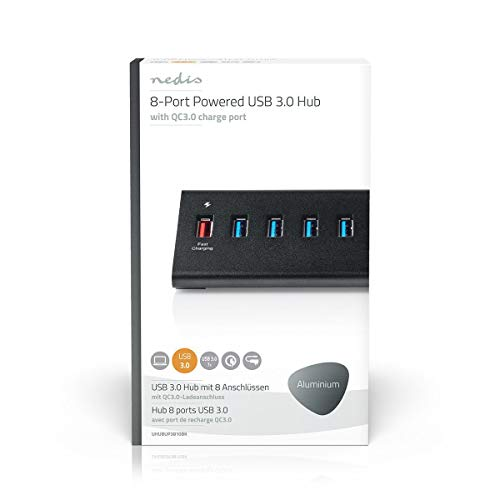 Nedis - USB Hub - 8-Poorts - USB 3.0 met Externe Voeding - QC3.0 oplaadpoort - 5 Gbps - Zwaardere randapparatuur - 2,5