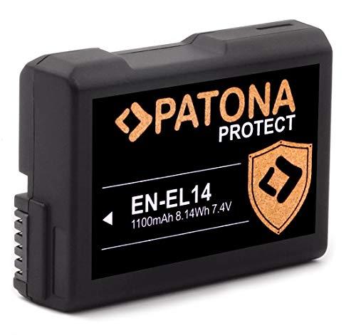 PATONA Protect V1 EN-EL14 Batería EN-EL14a (1100mAh) con Sensor NTC y Funda V1