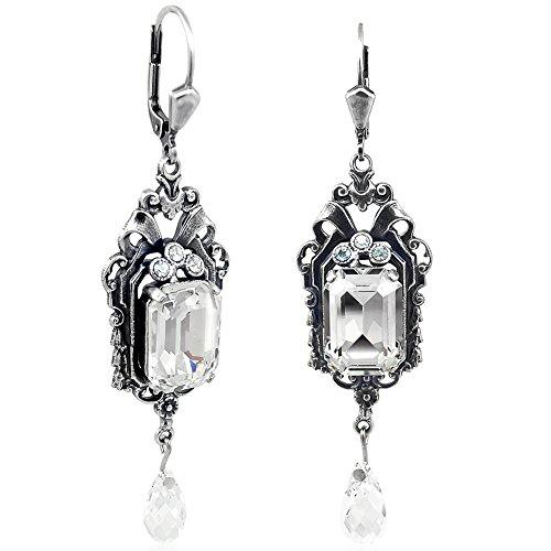 Jugendstil Ohrringe mit Kristallen von Swarovski® Silber NOBEL SCHMUCK