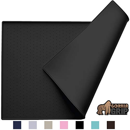 Gorilla Grip Silicone Pet Feeding Mat, Easy Clean, Large, 23x15, Dishwasher Safe, Waterproof, Raised Edges, Pets Placement Tray Mats to Stop Dog and Cat Food Spills and Water Bowl Messes, Black