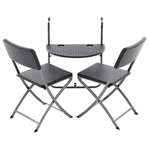 Nexos 3er Balkonmöbel-Set Sitzgruppe Balkonhängetisch Balkontisch Klapptisch mit 2 Klappstühlen Stühle Polyrattan schwarz kompakt klappbar 3 teilig