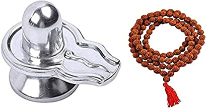 finaldeals Parad Shivling Mercury Shivlingam Shivling - 46 Gram with Rudraksha Mala Small Beads Rudraksha Japa Mala