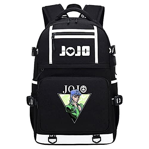 Anime JoJo's Bizarre Adventure Mochila Unisex Backpack con USB Puerto de Carga Hombre y Mujer Bolsa Mochila