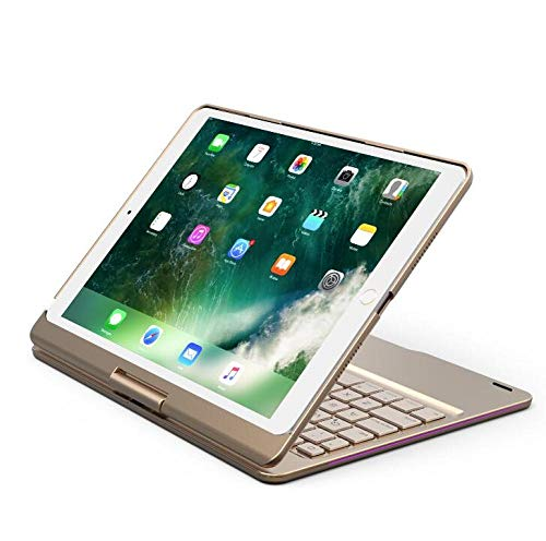 Colorful Backlight Keyboard For iPad 10.2 2020 2019 Rotate Wireless Bluetooth Keyboard Aluminum Alloy Case Cover-Gold