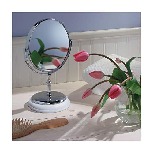 InterDesign York Runder Spiegel für Bad Waschtisch - Weiß/Chrom