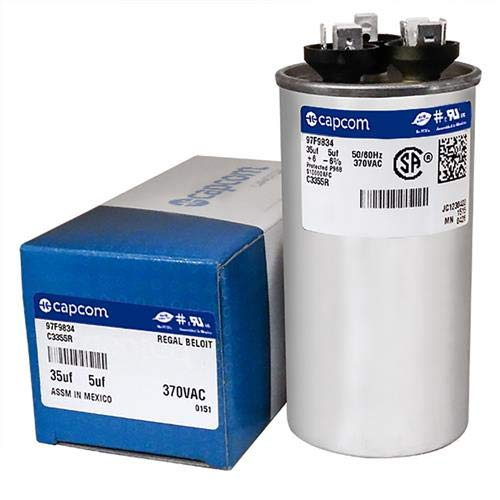 GE Genteq Capacitor Dual Run Round 35/5 uf MFD 370 Volt VAC 97F9834 (replace old GE# Z97F9834) 35 + 5 MFD at 370 volts