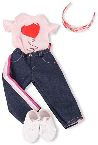 Götz 3403154 Kombination Jeans in Style - Puppenbekleidung Gr. XL - 5-teiliges Bekleidungs- und Zubehörset für Stehpuppen 45 - 50 cm