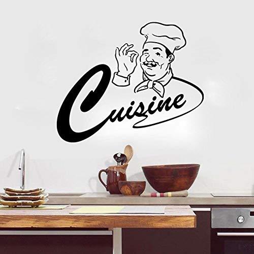 yaonuli Vinyl wandtattoos, goede appetit met keukenchef wandsticker restaurant decoratie gelukkig keukenchef behang vinyl muursticker