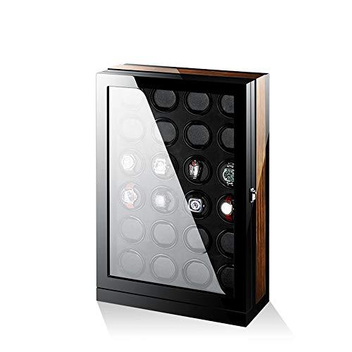 Devanadera de Reloj Inteligente de Lujo para Relojes automáticos, Carcasa de Madera + Pintura de Piano + Motor japonés para 24 Relojes con luz LED