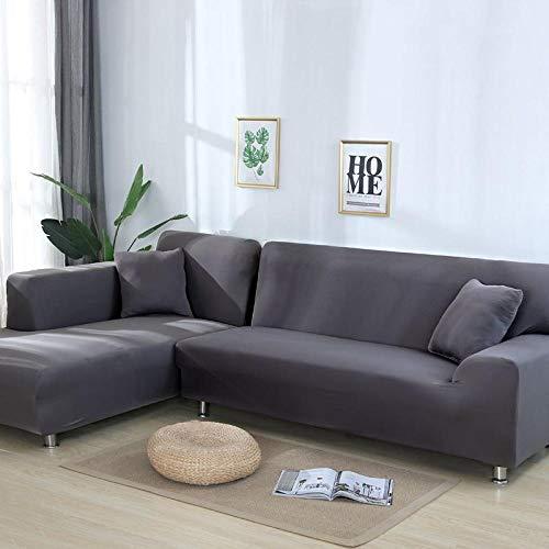 Nannan 1/2/3/4 zitje eenkleurig elastische bankovertrek voor thuis en woonkamer, L-vormige loungebank beschermhoes, anti-grijs decoratie