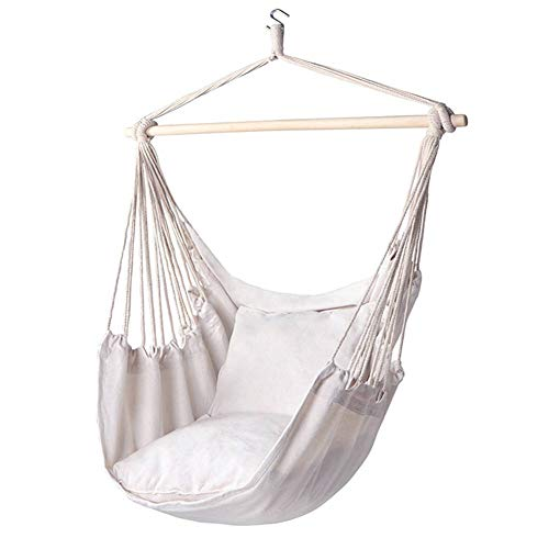 YOLEABY Cotton canvas hanging chair Cotton Canvas Hanging Chair Outdoor Swing Hammock Chair Indoor and outdoor White Striped Swing Optional