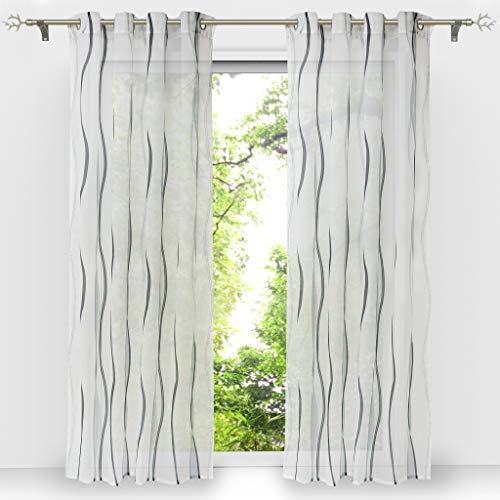 HongYa 1er-Pack Voile Gardine Transparenter Vorhang mit Ösen Wellen Druck H/B 175/140 cm Weiß Silber