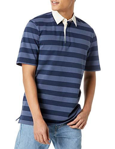 Amazon Essentials Regular-Fit Short-Sleeve Rugby Polo Poloshirt, Indigo/Marineblau, Streifen, XL