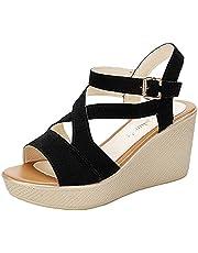 Beudylihy Sandalen met wighak voor dames, plateauschoenen, sleehak, zomerschoenen, platform, enkelriem, sandalen, elegante Romeinse schoenen