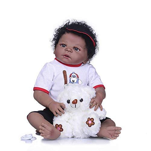 Wiedergeborene Puppen, Wiedergeburtspuppe Vollsilikon-Babypuppe in süßer Frisur Schweres Leben Babypuppe Mädchen Playmate Toy