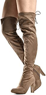83549da2780 Women s Over The Knee Boots - Sexy Drawstring Stretchy Pull on -  Comfortable Block Heel