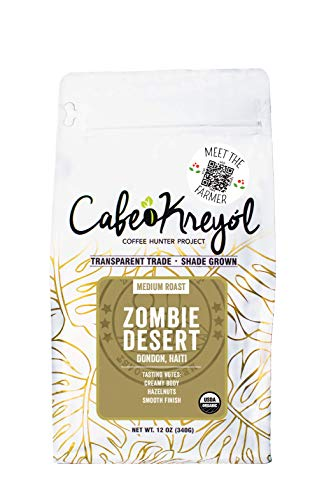 Cafe Kreyol Organic Zombie Desert | 12 oz - Haitian Blue Medium Roast Whole Bean Coffee – USDA Certified Organic