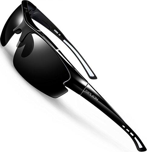 SIPLION Hombre Gafas de sol Polarizadas Deportes para Ciclismo Pesca Golf TR90 Súper ligero Marco 502 BLACK