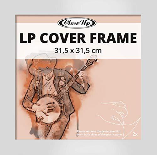 Close Up LP Album Cover Schallplatten Rahmen - 31,5 x 31,5 cm, Silber, aus MDF Holzwerkstoff/Flat Design
