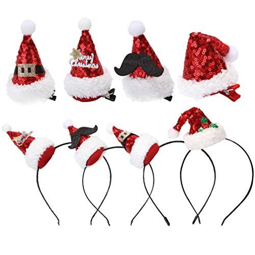 PRETYZOOM 8 Stücke Mini Weihnachtsmütze Haarspange Weihnachten Hut Haarreif Glitzer Nikolausmütze Haarklammern Kopfschmuck Stirnband Santa Mütze für Kinder Erwachsene Weihnachtsmann Kostüm