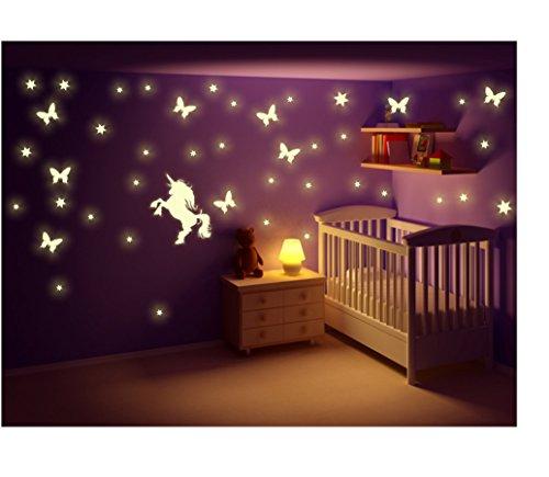 Stickerkoenig Kinderzimmer Wandtattoo Leuchtsticker Einhorn mit Schmetterlingen, Sternen, Sternenhimmel, nachtleuchtend