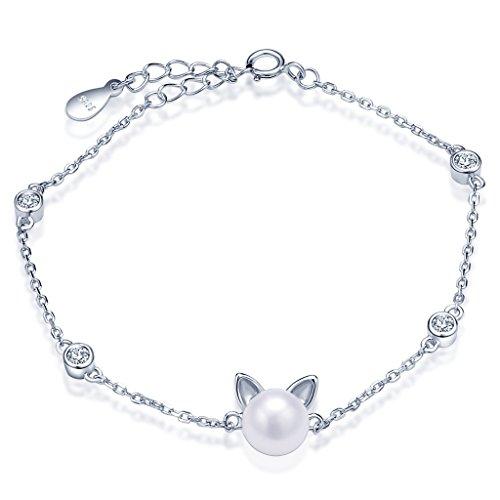 Unendlich U Niedlich Katze Kätzchen Damen Armband 925 Sterling Silber Zirkonia Perle Armkette Verstellbar Charm Armkettchen Armreif, Silber