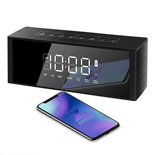 XFSE Bluetooth-Lautsprecher-Alarm-Radio, Tragbarer Drahtloser 10-W-Bluetooth-Lautsprecher Mit LED-Uhr, FM-Radio, Großem Sound, Bass Und Großem Dimmbarem Display, 4000-mAh-Akku Für 24-Stunden-Wiedergab