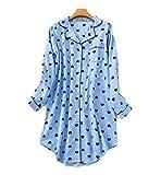Pijama Mujer algodón Otoño Invierno Manga Larga Ropa de Dormir Tallas Grandes Pijamas Camison Botones