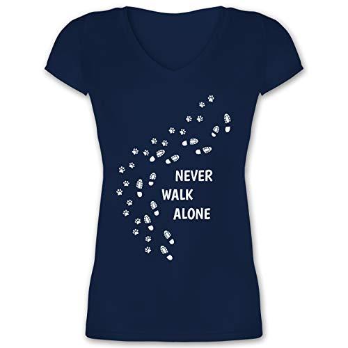 Hunde - Never Walk Alone Pfotenabdrücke - 3XL - Dunkelblau - t-Shirt pfotenabdruck Hund - XO1525 - Damen T-Shirt mit V-Ausschnitt