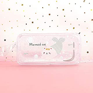 feelingood Pencil Case Quicksand Oil Pencil Pen Bags with Zipper Stationery Pouch Bag Coin Pouch Cosmetic Bag