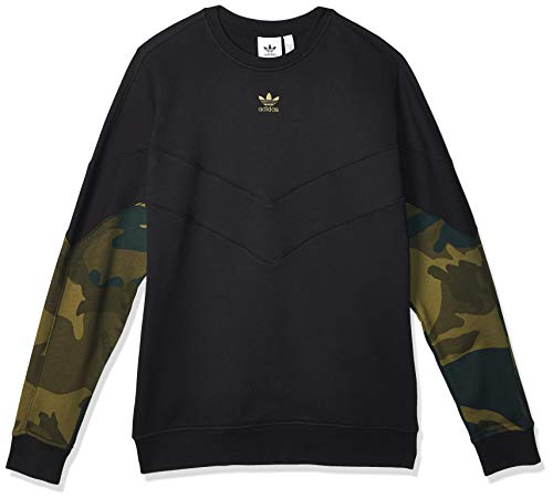 adidas Herren CAMO Crew Sweatshirt, Black/Multicolor, M