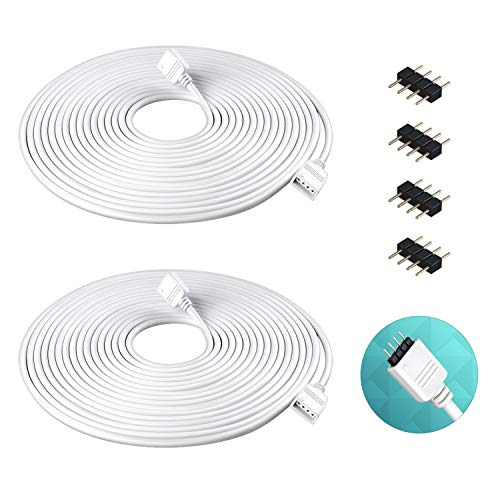 Nelyeqwo 2 Pack 5M 16.4ft RGB Extension Cable LED Strip Connector 4 Pin Soldless Strip Jumper Cables Kit with 4 Pack 4 Male Pin Connector for 5050 3528 RGB LED Strip Light