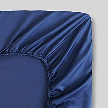 100% Organic Cotton Twin XL Dark Blue Fitted Sheet   Percale Weave   300 Thread Count   GOTS Certified   Cool Crisp Breathable   Luxury Finish   Fits Upto 17  Deep Pocket Mattress   Sustainable