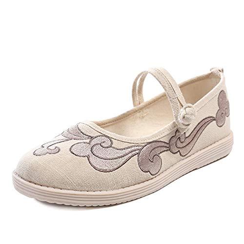 YYYSHOPP Zapatos bordados Old Beijing zapatos de tela originales Hanfu zapatos TPR zapatos bordados Mary Janes (color: blanco crema, tamaño: 4.5)
