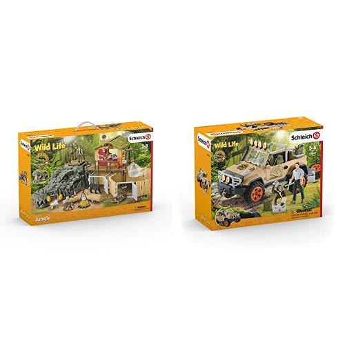 Schleich 42350 - Dschungel Forschungsstation Croco &  42410 - Geländewagen mit Seilwinde