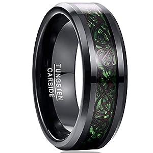 NUNCAD Unisex Ring Paare Wolfram mit Keltischen Drachen Kohlefasern Blassrot für Hochzeit Valentinstag Trauung Party 72(32)