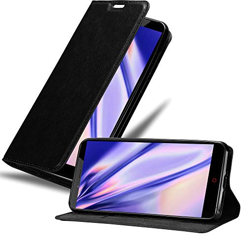 Cadorabo Hülle für ZTE Nubia Z11 MAX in Nacht SCHWARZ - Handyhülle mit Magnetverschluss, Standfunktion & Kartenfach - Hülle Cover Schutzhülle Etui Tasche Book Klapp Style