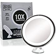 """Fancii Daylight LED 10X Magnifying Makeup Mirror - 8.0"""" Large Lighted Travel Vanity Mirror - Dimmable Light, Cordless, Battery Operated, Locking Suction, 360 Rotation, Portable & Illuminated (Luna)"""