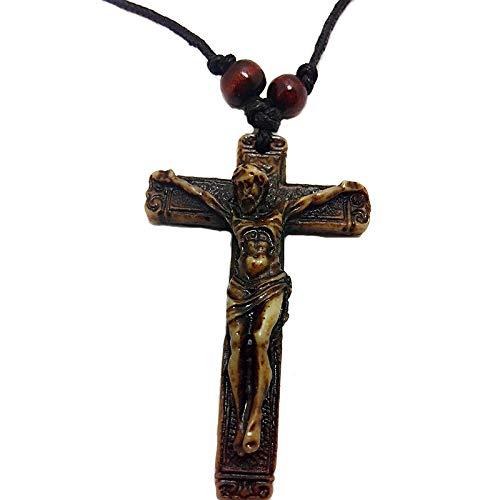 DADATU Collar Hombre Resina Vintage Jesús Cruz Colgante Collar Perlas De Cuero Hombres Cuerda Mujeres Retro Plegadora Gargantilla Joyería De La Moda Regalos