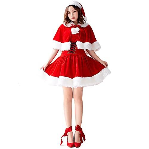 HBHBYNYN Traje de Santa Claus for Mujer Vestido con Capucha de Navidad con cinturn y mantn (Color : Red, Size : XL)