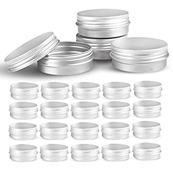 Round Silver Aluminum Metal Tin Storage Jar Containers with Secure Screw Top Lids for Cosmetic Lip Balm,DIY Salves Candles,pill Skin Care and tea 24pcs