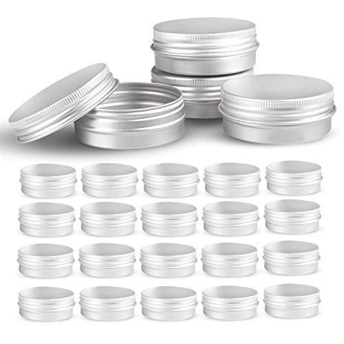 Round Silver Aluminum Metal Tin Storage Jar Containers with Secure Screw Top Lids for Cosmetic, Lip Balm,DIY Salves, Candles,pill, Skin Care and tea, 24pcs (0.18 Ounce Net)