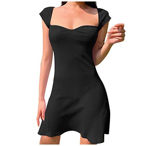 VEMOW Vestido Ajustado para Mujer Sexy Vestidos de Fiesta Elegantes Manga Corta Cuello Cuadrado con Abertura Lateral Clubwear Dress, Color Sólido Verano Vestido de Noche de Ceremonia Largo(B Negro,M)
