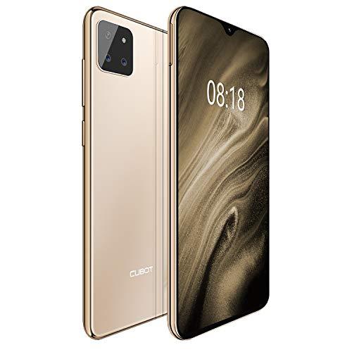 CUBOT X20pro 4G Android 9.0 Teléfono Movil Libre Pantalla 6,3' 19.5:9 FHD+, AI Triple Cámara Trasera, P60 Octa-Core Dual Sim,Face ID,Huella Dectilares 6GB RAM 128GB ROM, Batería 4000mAh (Oro)