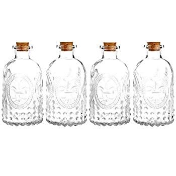MyGift Vintage Embossed Clear Glass Bottles with Corked Lids Set of 4